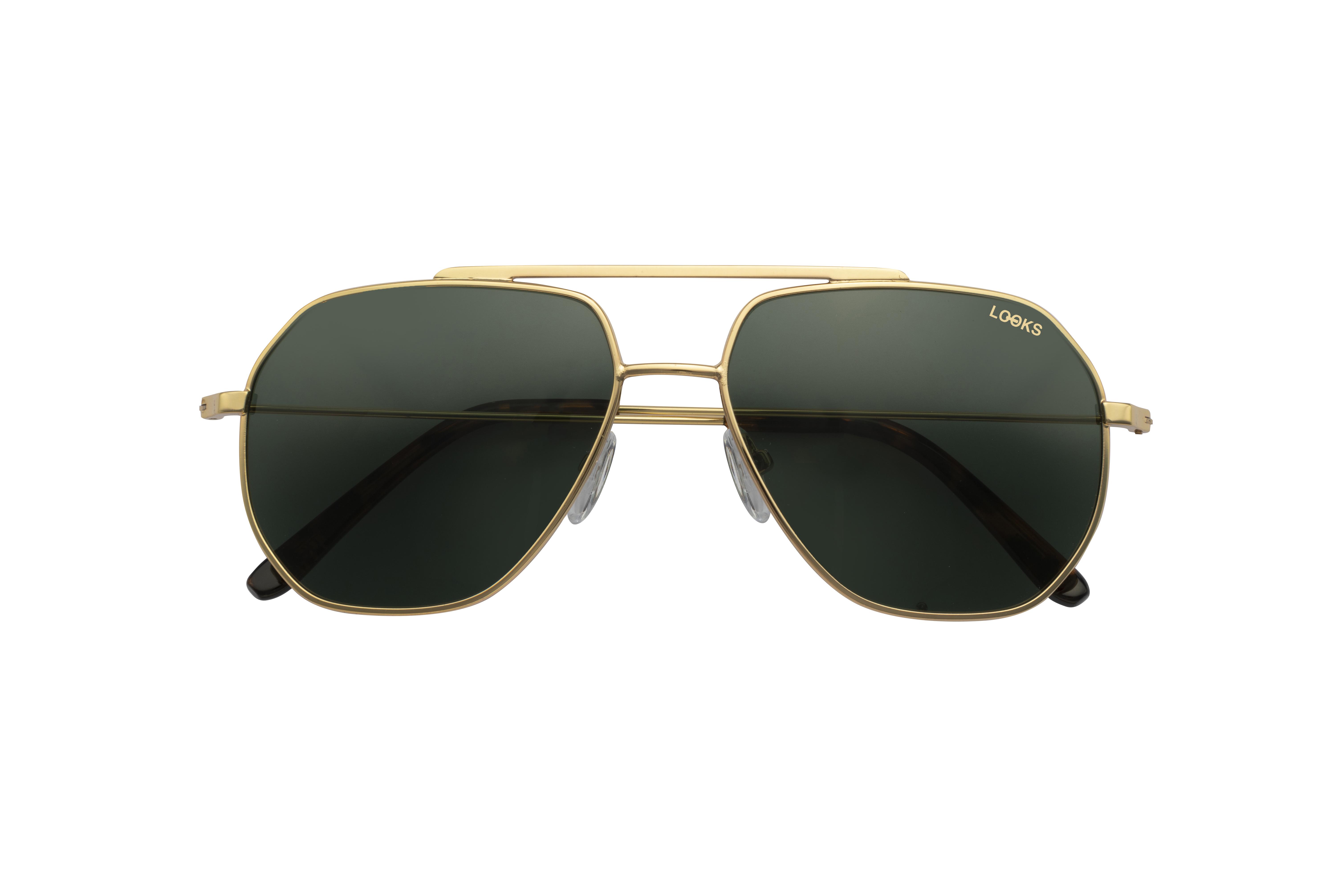 Kantige Metall Sonnenbrille in Gold