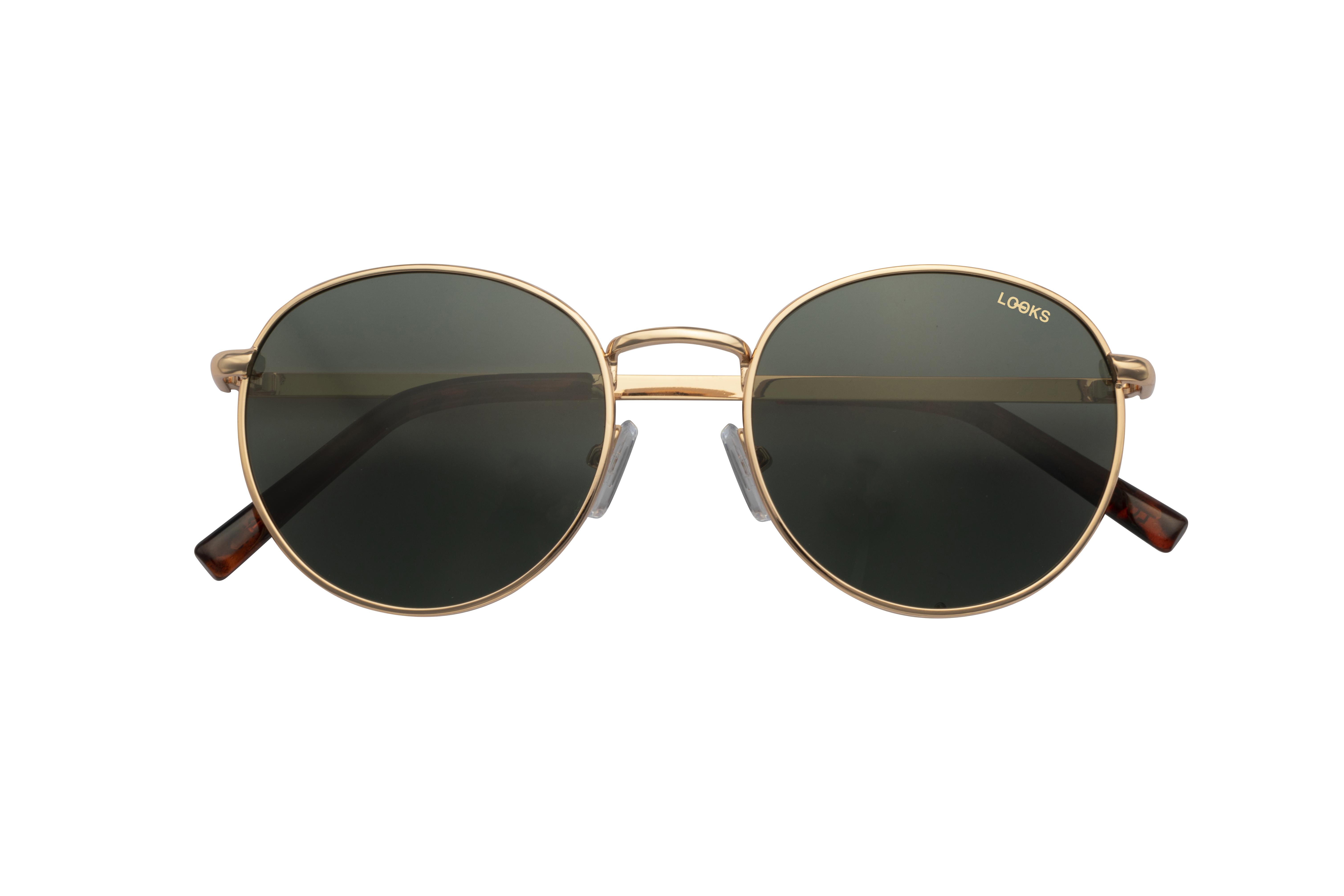 Runde Metall Sonnenbrille in Gold
